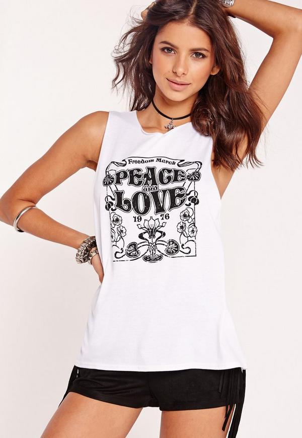 Peace & Love Slogan Vest White