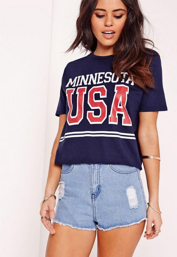 Minnesota Slogan T Shirt Navy