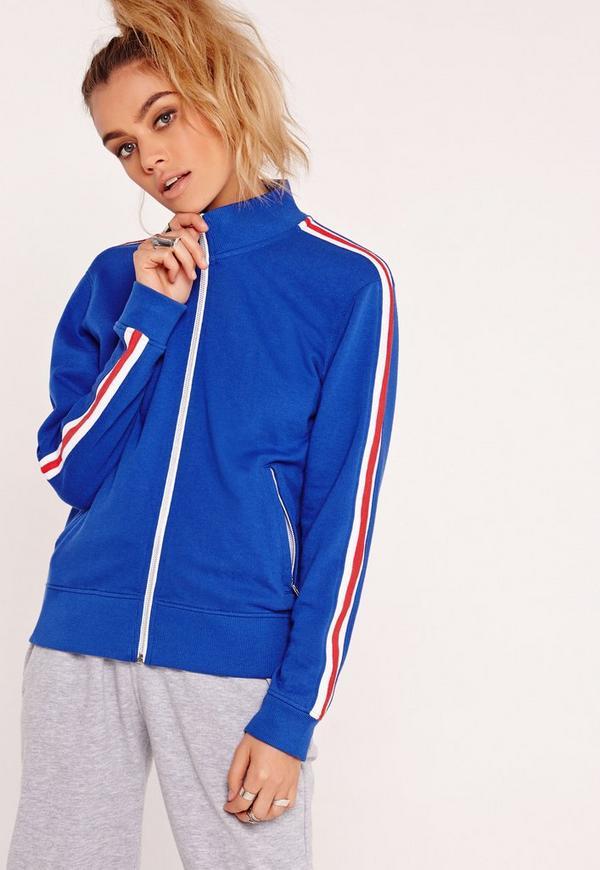 Zip Front Contrast Stripe Sports Jacket Blue