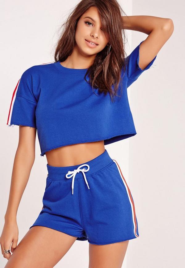 Sporty Contrast Striped Crop Top Cobalt Blue