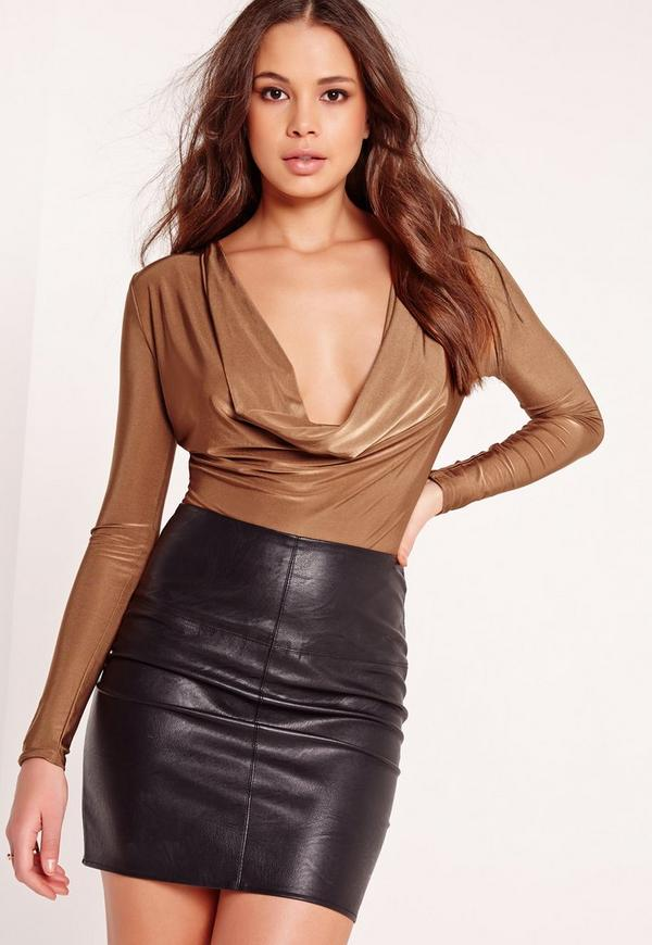 Cowl Neck Bodysuit Bronze