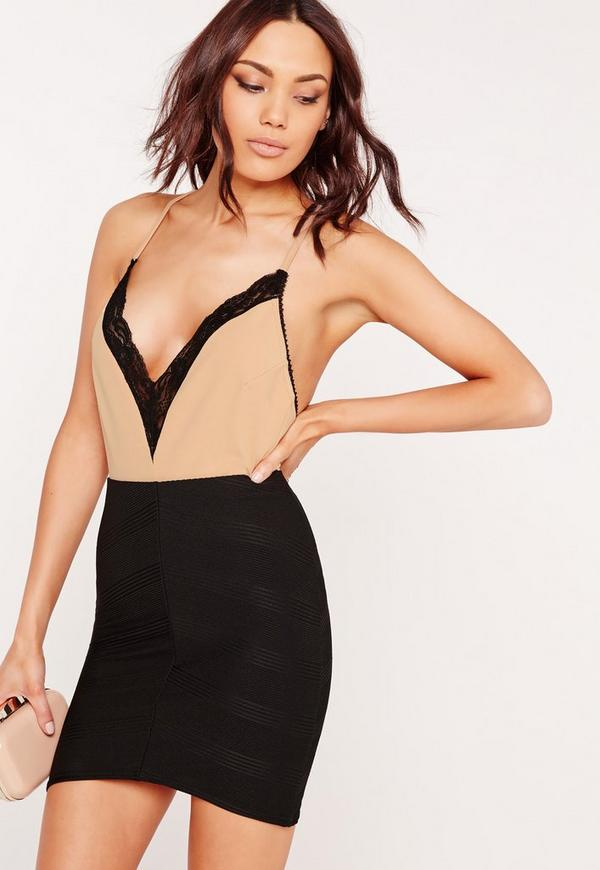 Contrast Lace Trim V Neck Bodysuit Nude