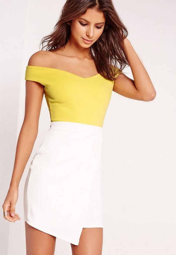 Bardot Crepe Bodysuit Yellow
