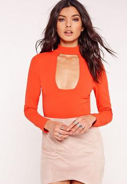 Choker Plunge Bodysuit Orange