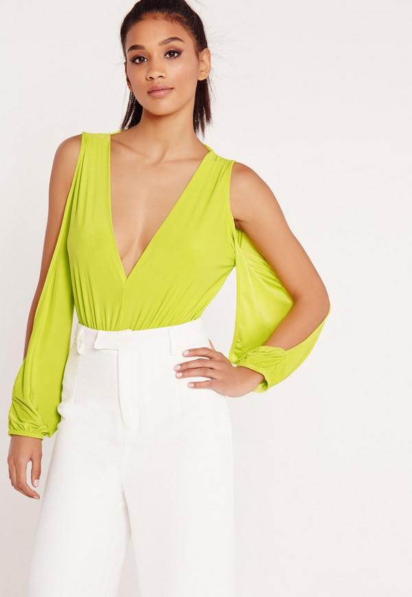 Open Sleeve Bodysuit Green