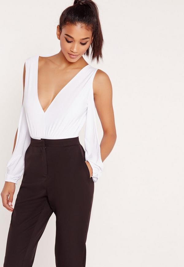Open Sleeve Bodysuit White