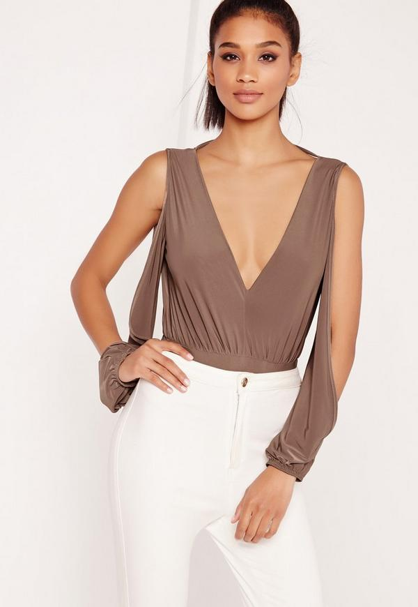 Cold Shoulder Bodysuit Brown