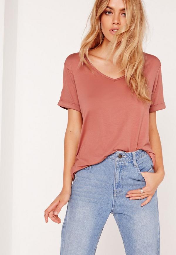 Boyfriend V-Neck T-Shirt Pink