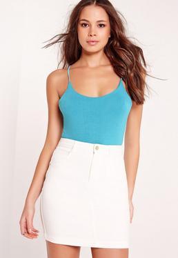 Lattice Back Bodysuit Blue