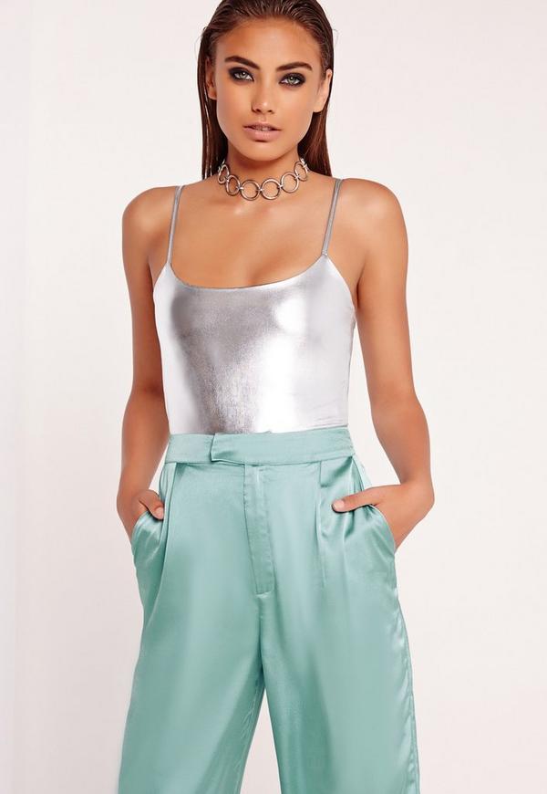 Strappy Bodysuit Silver
