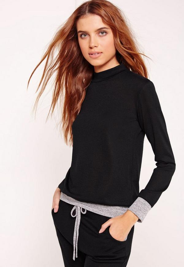 High Neck Contrast Cuff & Hem Sweatshirt Black