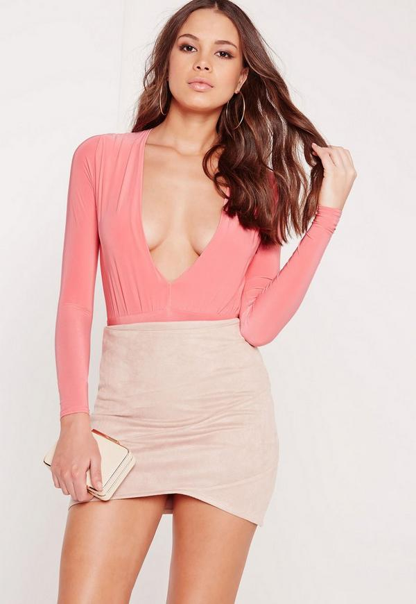 Slinky Deep Plunge Bodysuit Pink