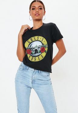 Black Guns N Roses Slogan T-Shirt