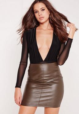 mesh sleeve slinky plunge bodysuit black