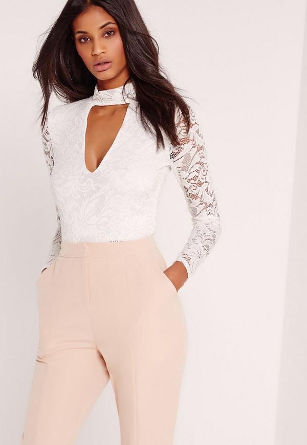 Lace Choker Plunge Bodysuit White