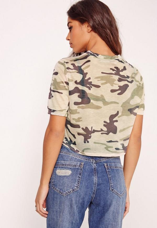 Camo print cropped t shirt green missguided for Camo print t shirt