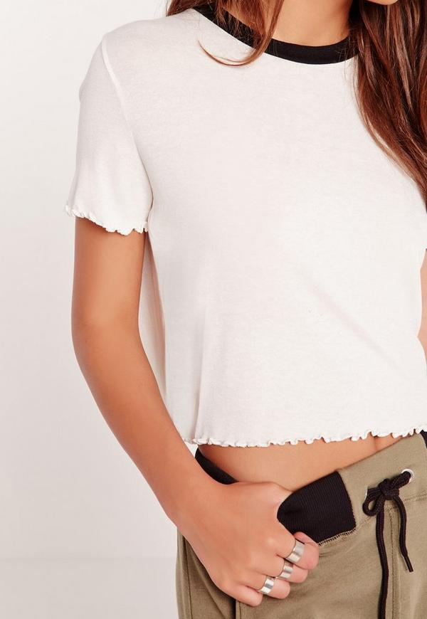 Lettuce Hem Cropped T Shirt Cream Missguided