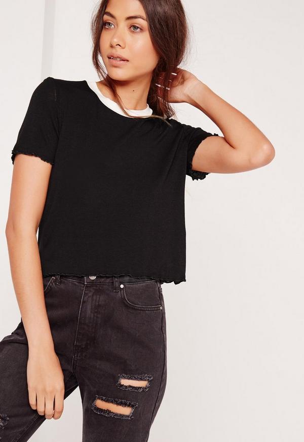 Lettuce Hem Cropped T-Shirt Black