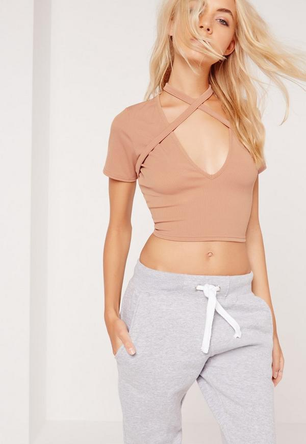 Harness Strap Detail Ribbed Top Nude