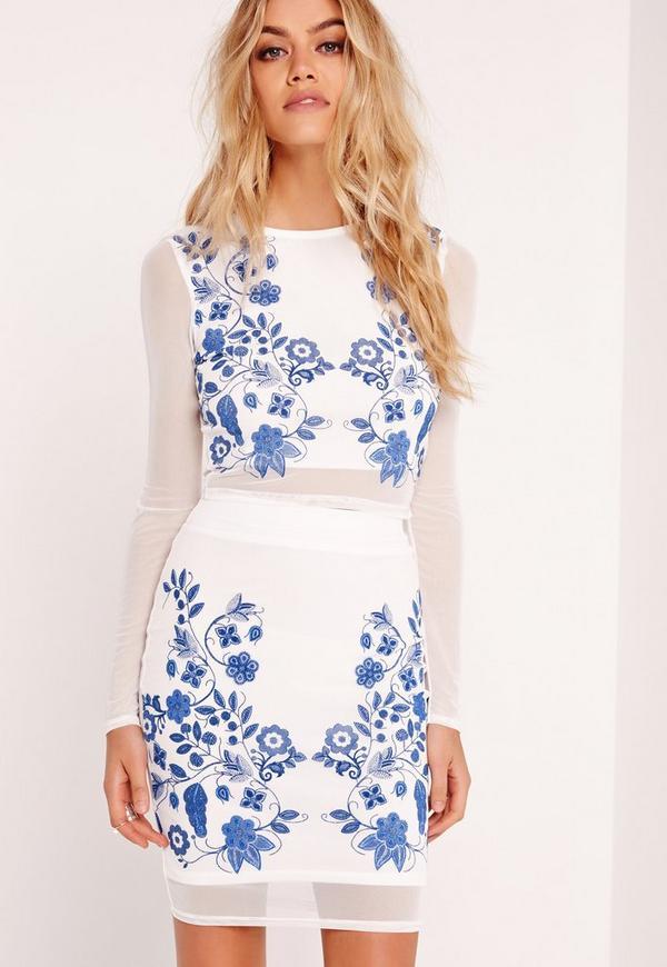 Floral Puff Print Mesh Top White