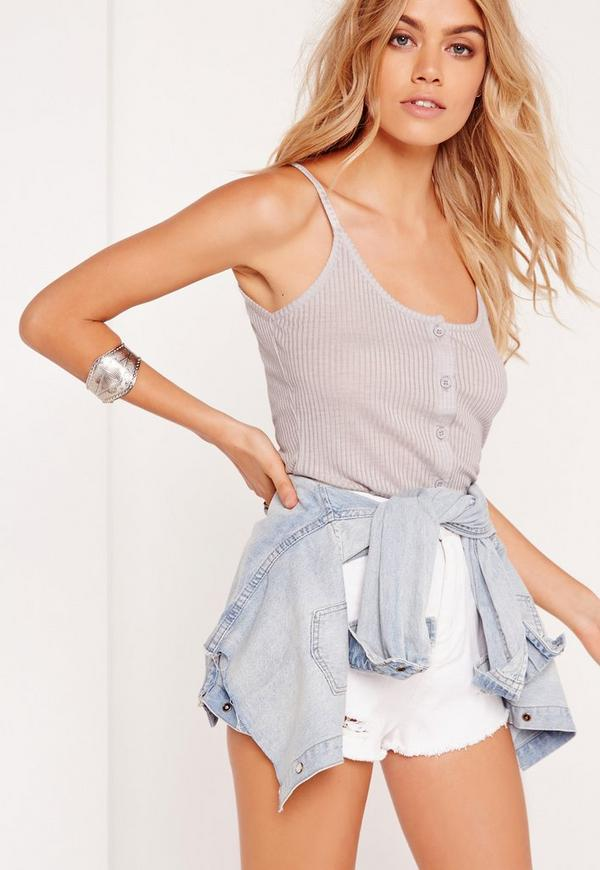 Button Front Cami Grey Marl