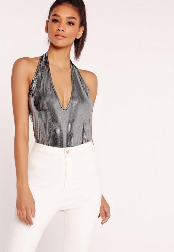 Metallic Halterneck Bodysuit Silver
