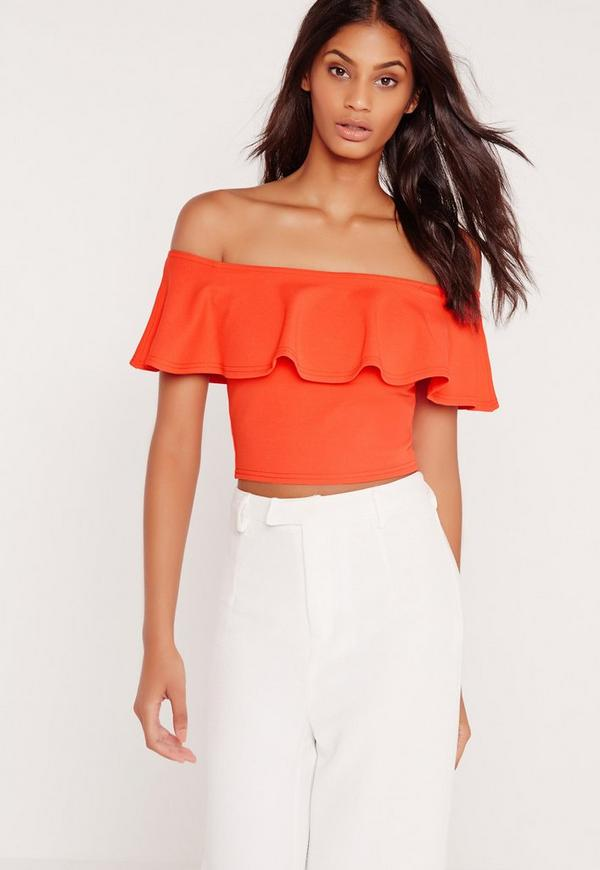 Frill Bardot Crop Top Orange