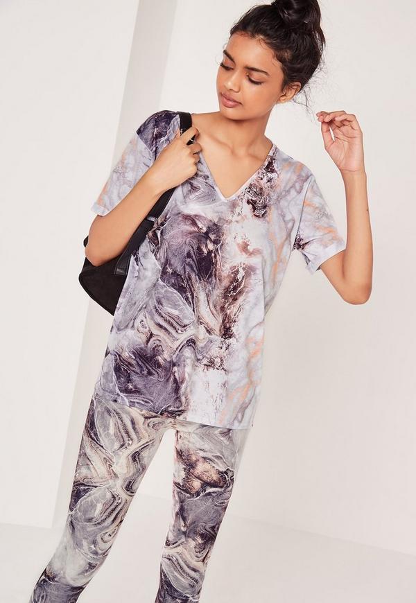 Marble Print V Neck T Shirt Grey