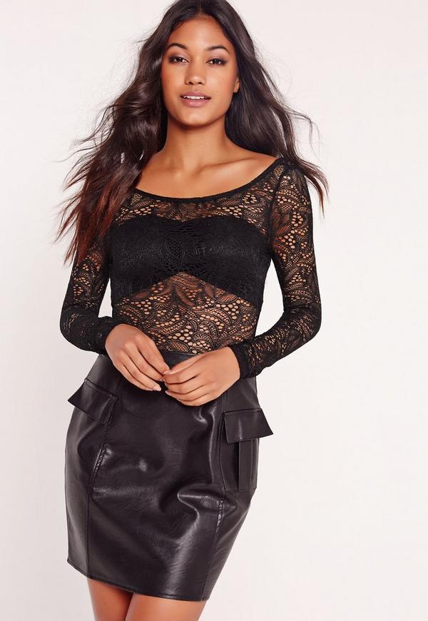 Lace Scoop Back Bodysuit Black