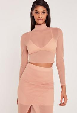 Carli Bybel Airtex Mesh Crop Top Pink