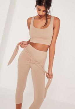 Sleeveless Crop Top Tan