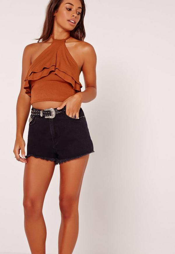 Double Frill Halterneck Top Brown
