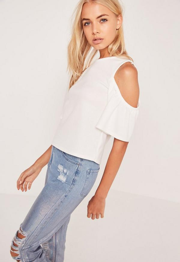 High Neck Cold Shoulder Top White