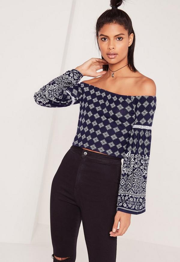 Bardot Bell Sleeve Tile Print Top Blue