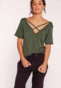 V Neck Cross Strap Front T Shirt Khaki