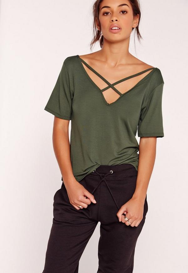 V Neck Cross Strap Front T Shirt Khaki
