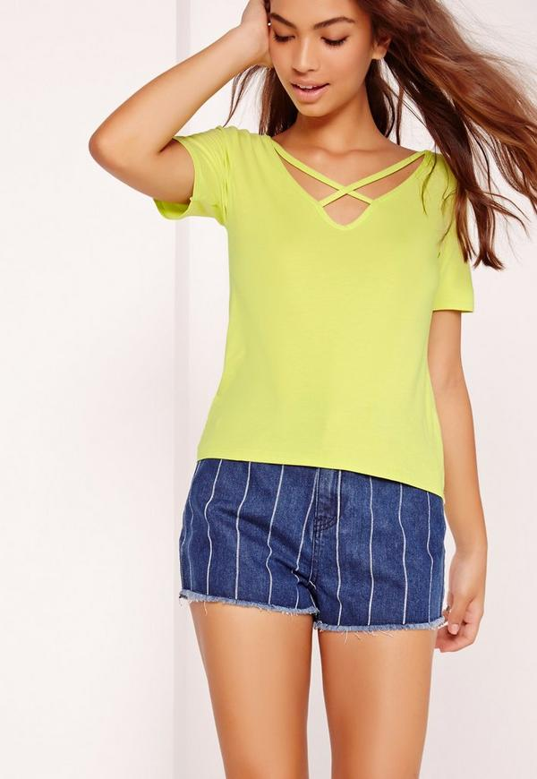V Neck Cross Strap Front T Shirt Yellow