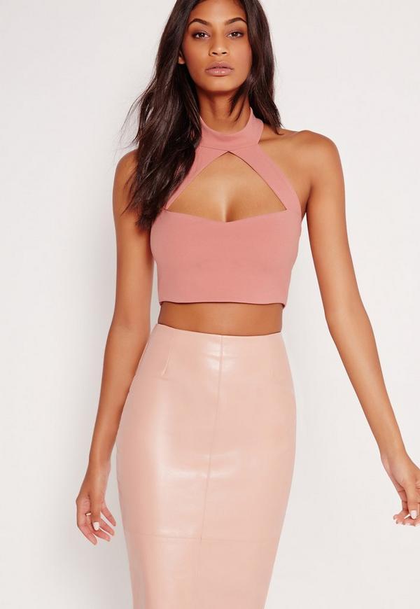 Choker Plunge Crop Top Pink