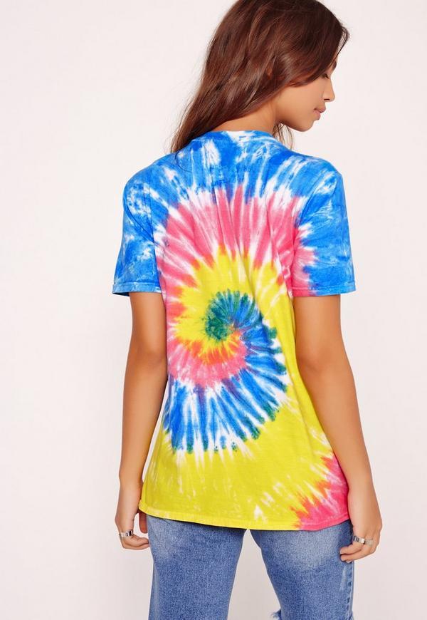 Tye dye dirty hippie slogan t shirt multi missguided for Hippie t shirts australia