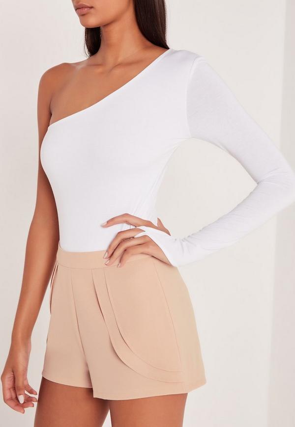 carli bybel one shoulder long sleeve thong bodysuit white