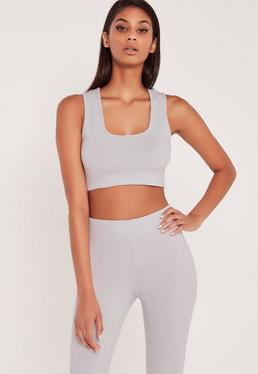 Carli Bybel Jersey Crop-Top Ärmellos in Grau