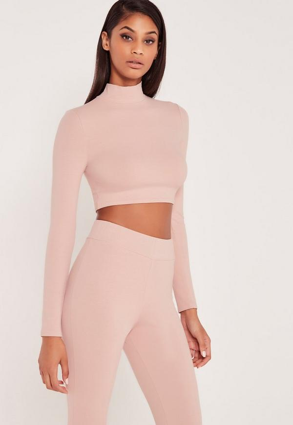 Carli Bybel Long Sleeve Jersey Crop Top Pink