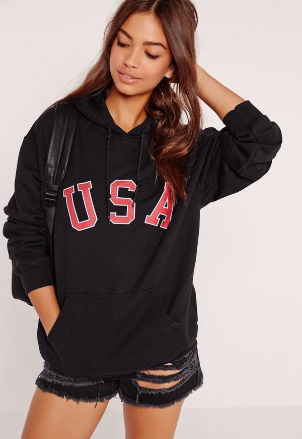 USA Slogan Hoodie Black