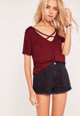 V Neck Cross Strap Front T Shirt Burgundy