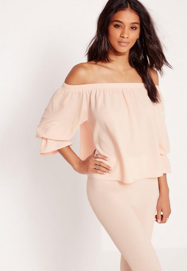 Textured Long Sleeve Bardot Top Co-ord Blush Pink