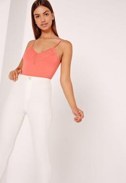 Lace Trim Bodysuit Orange