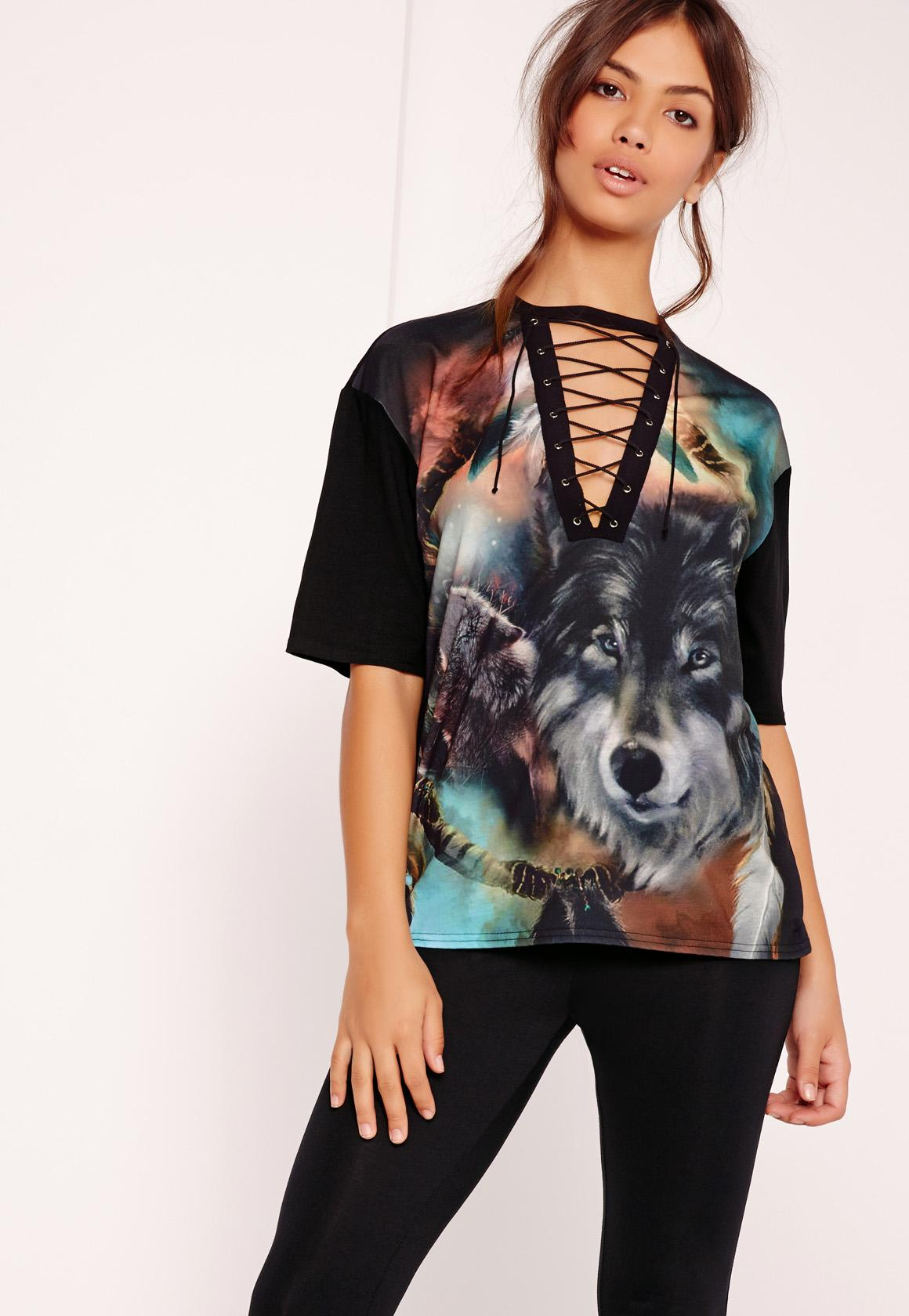 Black t shirt with lace - Wolf Print Lace Up T Shirt Black