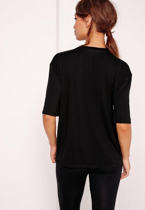 Wolf Print Lace Up T Shirt Black