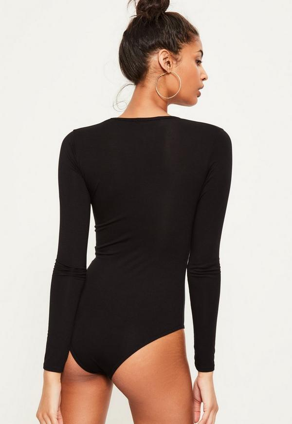 BLACK LONG SLEEVE V NECK BODYSUIT | Missguided