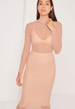 High Neck Mesh Bodysuit Nude